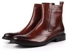 Мода 2017 марка коричневый загар мужские ботинки мотоцикла, ботинки из натуральной кожи мужские зимние ботинки обувь