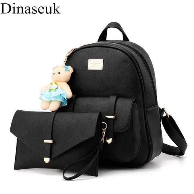 Dinaseuk Small 2 Sets Women s PU Leather Backpack College Travel Shoulder Bag  Mini Cute Daypacks Rucksack 49818ab652f05