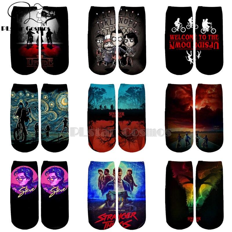 PLstar Cosmos Stranger Things Socks Colorful Horror Film Movie TV Warm Cartoon Short Ankle Socks Good Quality Cotton Socks