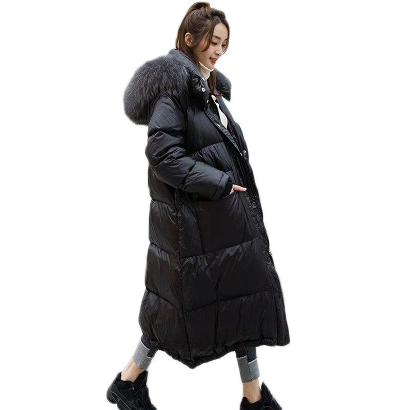 WSYORE lâche vers le bas manteau 2018 nouveau hiver fourrure de raton laveur col à capuche canard doudoune hiver femmes lâche canard vers le bas longue veste NS855