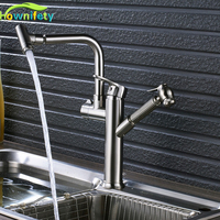 Newly Design Brushed Nickle Kitchen Faucet Pull Out Swivel Bathroom Kitchen Taps Dual Sprayer Nozzle Hot