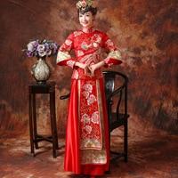 Fashion Women Phoenix Embroidery Cheongsam Long Qipao Chinese Traditional Wedding Dress Loose Vintage Dresses Vestido Oriental