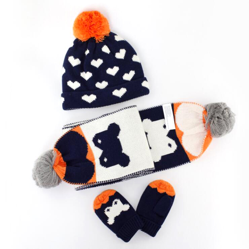 781d467f351c Aliexpress.com   Buy Christmas Gift Boy Girl Hat Scarf And Gloves Set  Children Cap Baby Girls Winter Fashion Kids Hats Boys Love Print 3 Pieces  Set from ...