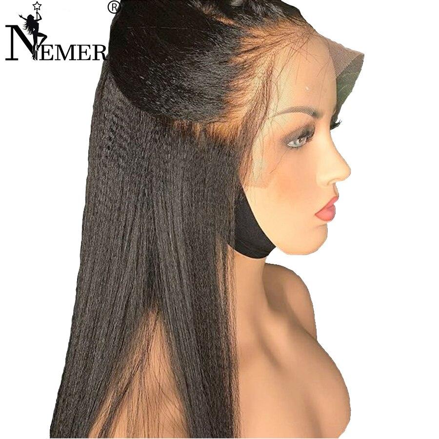 250% Densité Yaki Droite 360 perruques Lace Front Pour Les Femmes Noires Brésilien Remy Pré Pincées Délié Dentelle Avant de cheveux humains Perruques