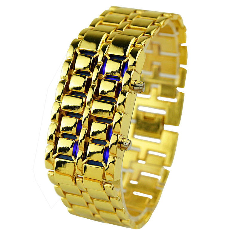 2017 New Fashion Men Gold Lava Iron Samurai Metal LED Faceless Bracelet Watch Wristwatch Sports Watches Relojes Drop Shipping