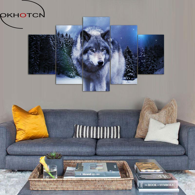 ᐊOKHOTCN enmarcado lobo en invierno pintura sobre lienzo para la ...