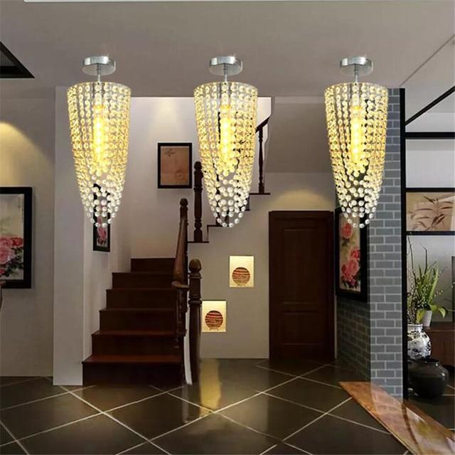 Moderne Korridor Kristall Lampe Gangbeleuchtung Unten Kristall Aufbau  FÜHRTE Deckenleuchten Für Wohnzimmer Eingang Lamparas