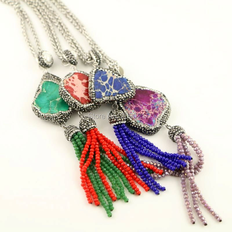 6pcs Emperor Stone Charms Necklace Crystal Tassel Jewelry Metal Chain Necklaces