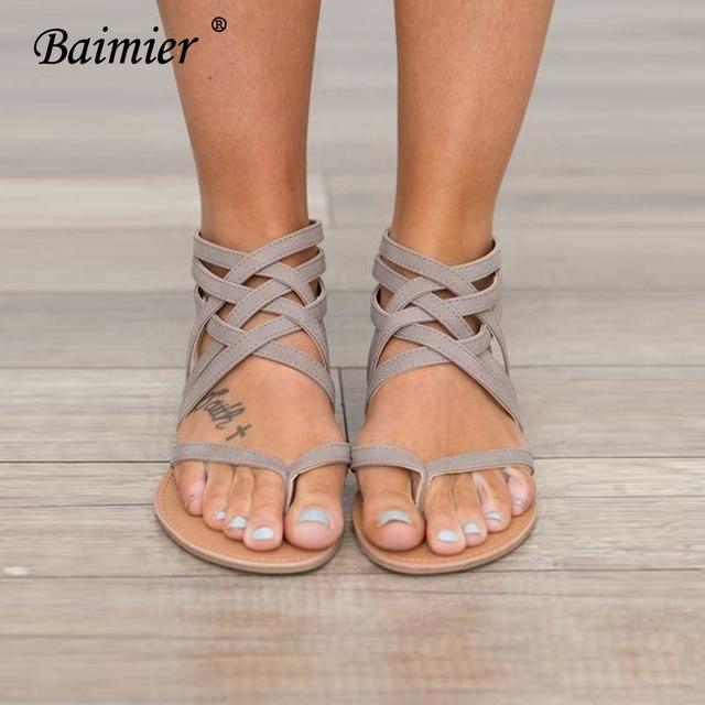 4b4eef85910 Baimier 2018 Summer Gladiator Sandals Women Fashion Hollow Thong Flat  Sandals Cross Ankle Strap Summer Flip Flops Summer Shoes