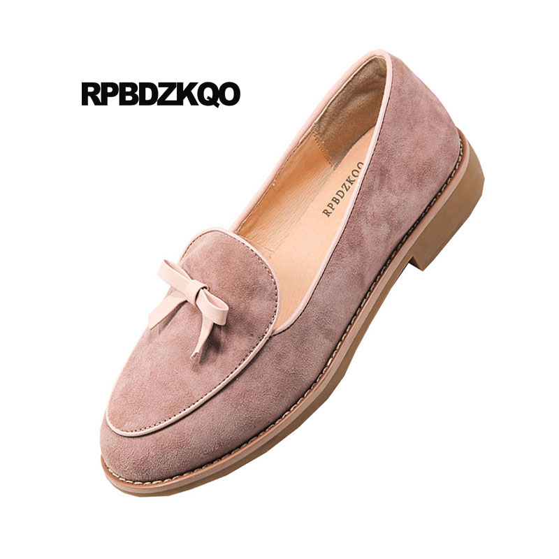 Daim Peu Chine Chaussures Chinois Style Cuir Mignon Rond Britannique Femmes En Bean Appartements Rose Bout Dames Paste Avec red Mocassins Arc Bowtie Véritable Noir Onxwq8