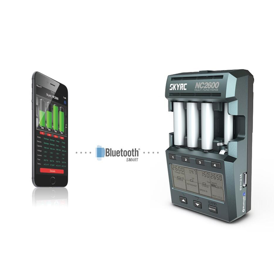 SKYRC NC2600 Charger for AA AAA Battery Charger Discharger Analyzer with Bluetooth NiMH NiCd Battery Charge
