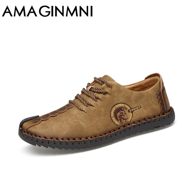 AMAGINMNI 2017 New Comfortable Casual Shoes Loafers Men Shoes Quality Split Leather Shoes Men Flats Hot Sale Moccasins Shoes 1