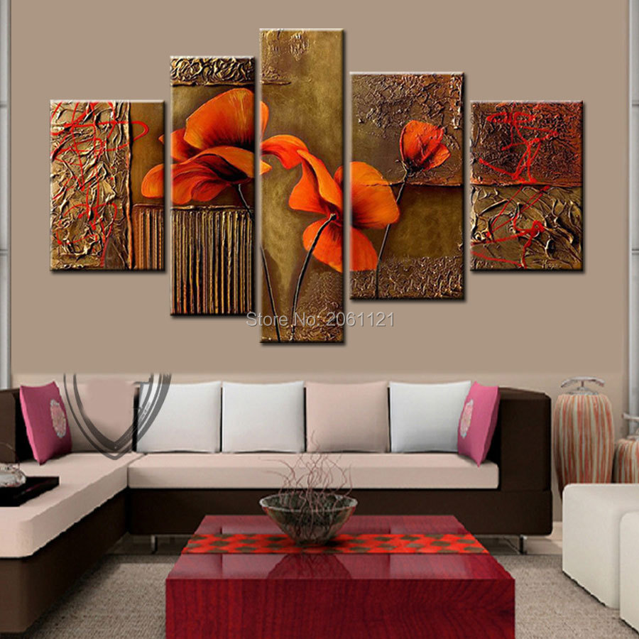 Living Room 5 Piece Sets Of Handpainted 5 Piece Brown Decorative Oil Paintings On