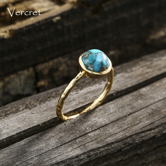 Delicate Turquoise Ring Gold Plated Sterling Silver 4