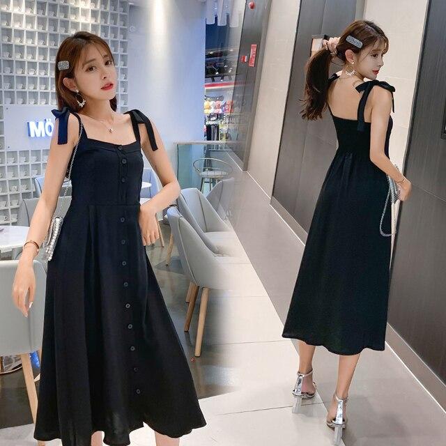 2019 Vestido largo de playa refrescante vestido Sexy dulce vestido azul sin espalda elegante mujeres señoras vestidos Coreanos
