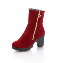 Fashion warm snow boots  heels winter boots new arrival women ankle boots women shoes warm fur plush Insole shoes woman high quality women boots winter casual brand warm shoes plush fur fashion boots shoes woman xw 44