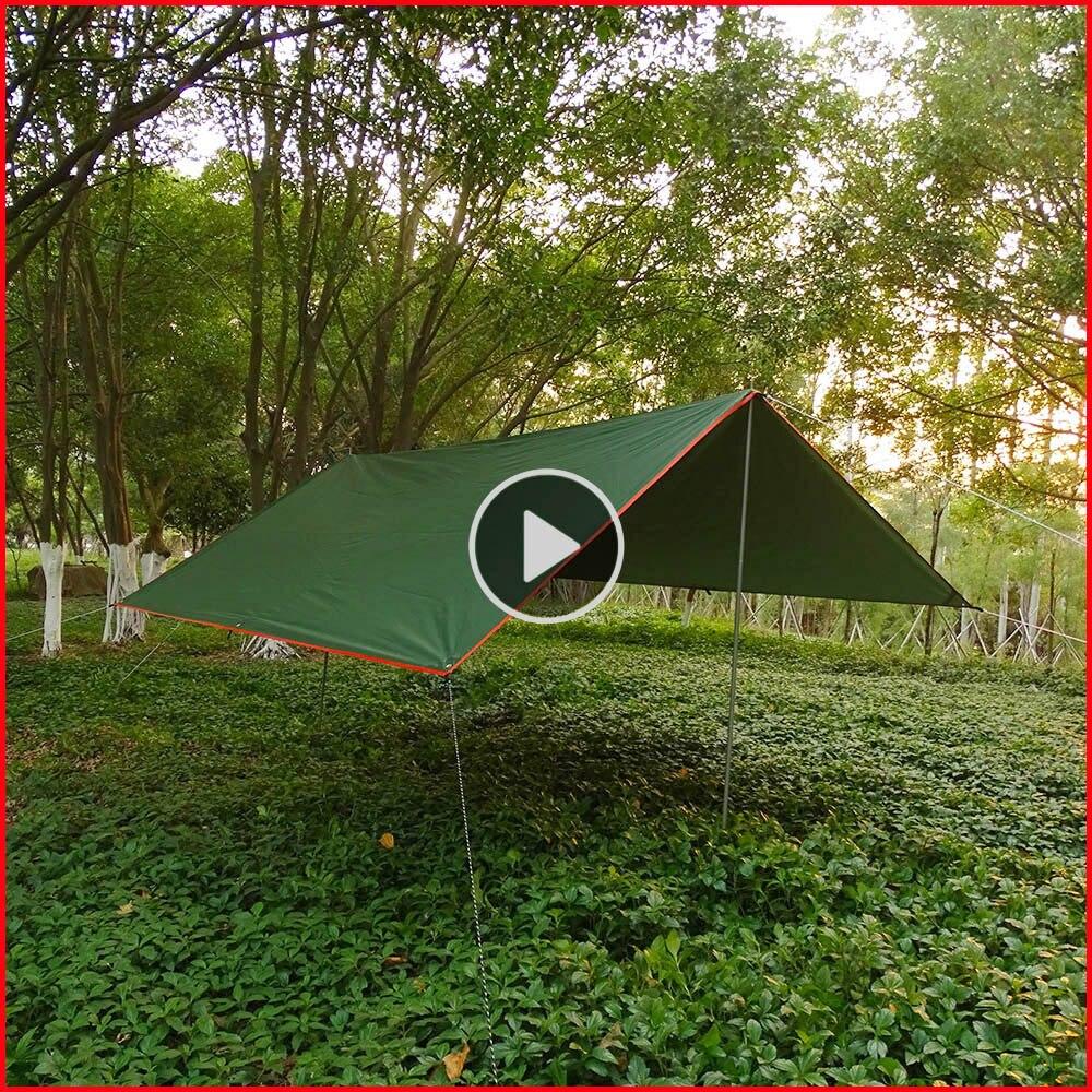 3mx3m 3mx4m Tarp Tent Awning Waterproof Rain Fly Anti UV Camping Sunshade Sun Shelter Outdoor Sun Shade Canopy Beach Tent Tarp