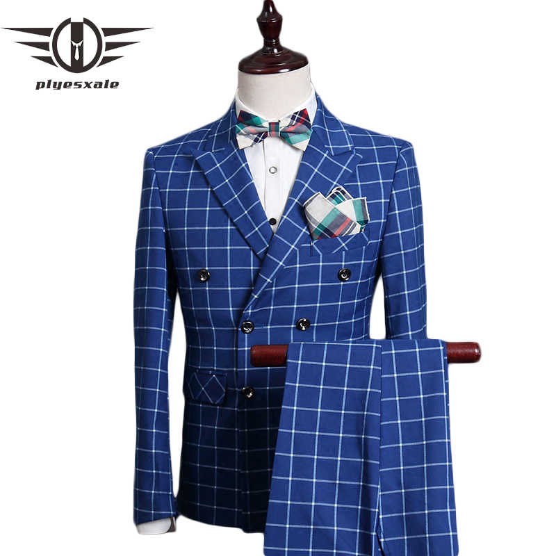 Plyesxale Double Breasted Suit Men 2017 Slim Fit Wedding Suits For Men Royal Blue Tuxedo Jacket Famous Brand Plaid Suits Q338