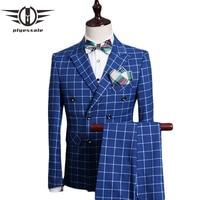 Plyesxale Double Breasted Suit Men 2017 Slim Fit Wedding Suits For Men Royal Blue Tuxedo Jacket Famous Brand Plaid Suits Q338