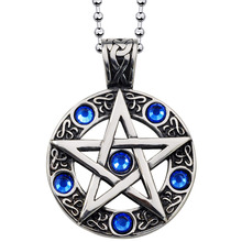Tiger Totem Blue Red zircon Pentagram circle Pendant plated Steel Necklace Cool Biker Punk fashion Round jewelry free shipping