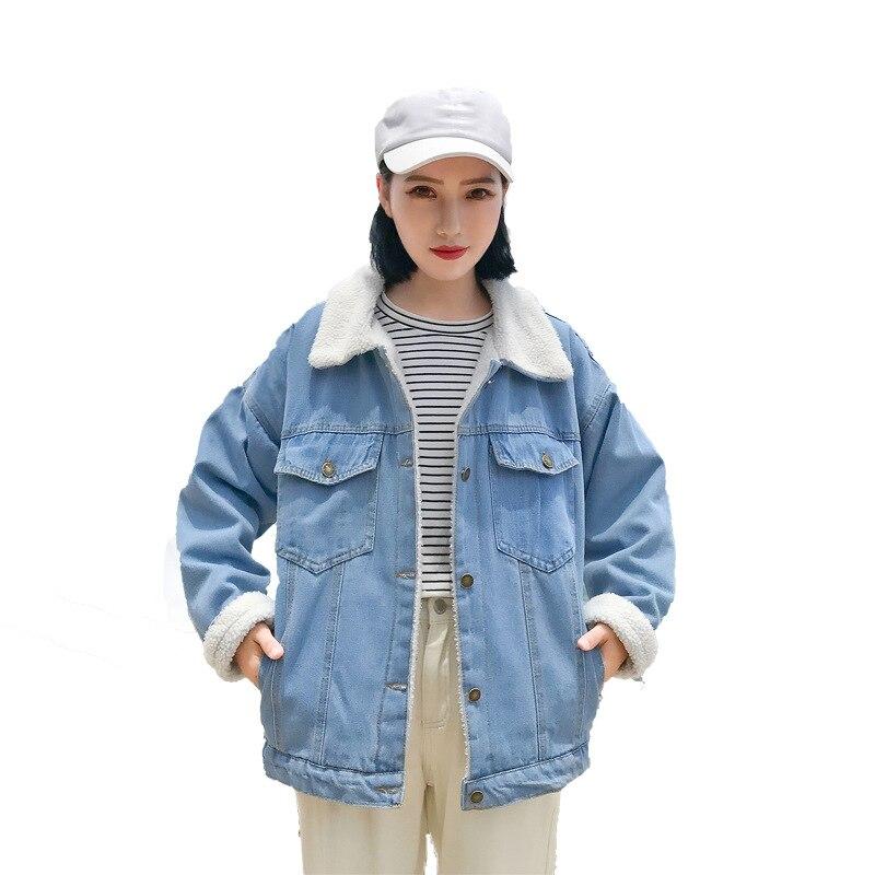 Winter Women Jean   Jackets   thick cotton-padded Coat female lamb with hair Denim coat loose Plush Velvet   Basic     Jackets   Coat Z498