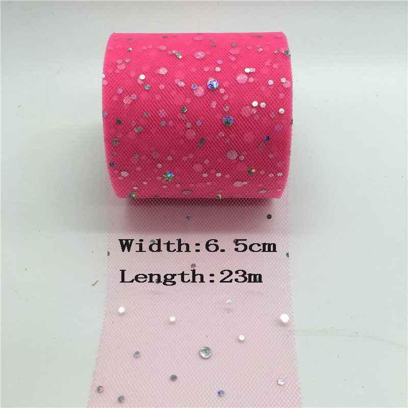Details of 23m lot 6.5cm Tulle Roll Glitter Sequins Mesh Organza Ribbon  Gift Box Wrapping Supplies Wedding Party Table Runner Decoration click  image. 90264b0606ef
