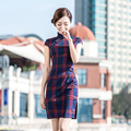 Shanghai Story Check print cheongsam dress traditional Chinese Style oriental dress chinese qipao lattice cheongsam 2 style