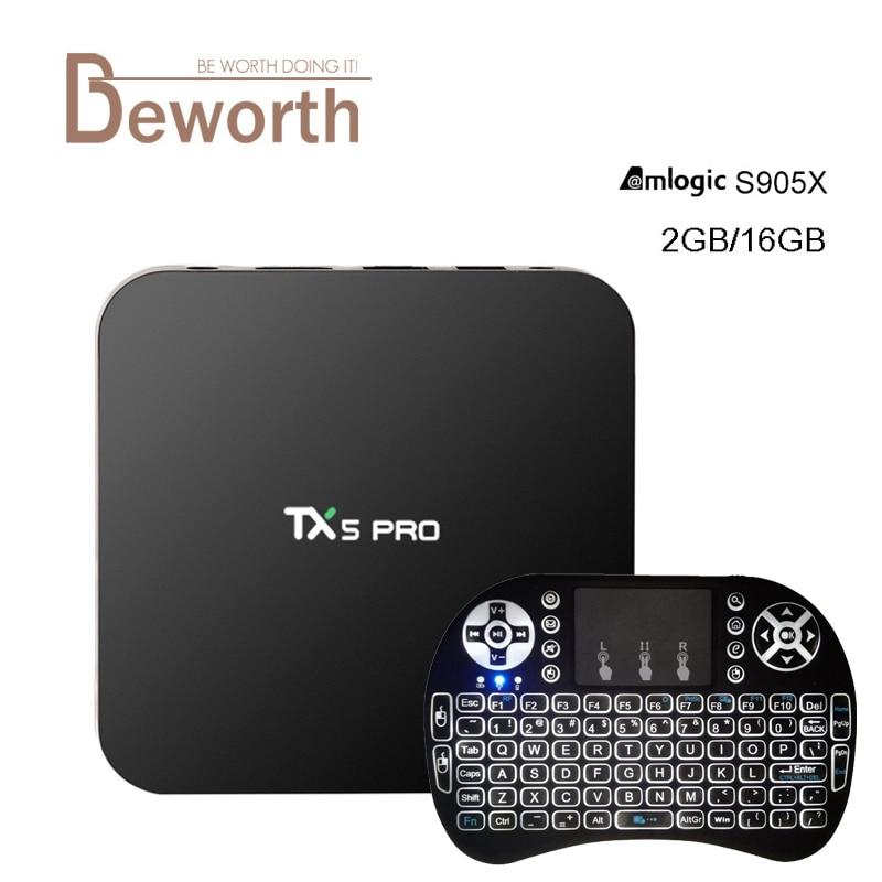 TX5 Pro S905X Amlogic del Androide 6.0 TV Box 2G/16G KODI 16.1 2.4/5.8G Wifi H.2