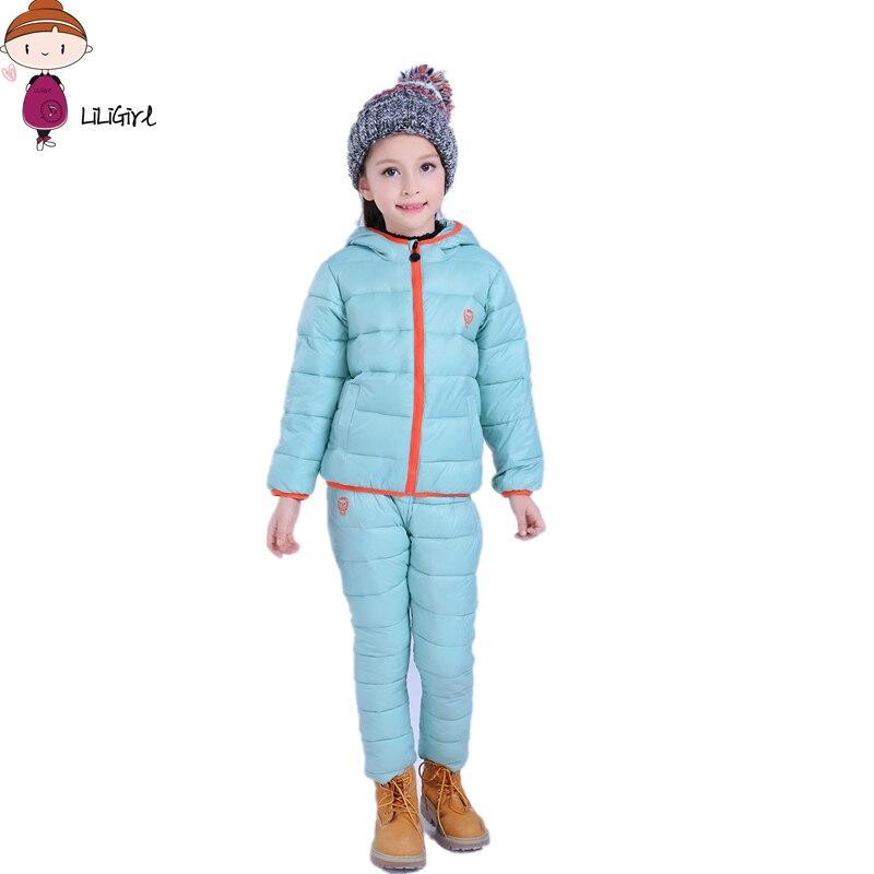 Winter baby Girl Tracksuit Girls Clothes Kids Sport Suit Cartoon lion Down Jacket 2017 Jacket+pants 2 Pcs/Sets Children Clothing