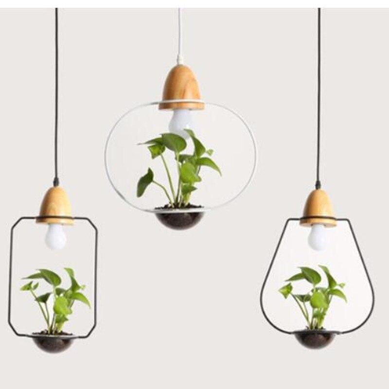 Moderne minimaliste Design créatif fer en bois jardin pendentif lumière bricolage plantes, Bar d'entrée, chevet, Restaurant