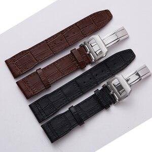 Image 1 - 20mm 21mm 22 mm mężczyźni prawdziwej skóry zegarek pasek zespołu wysokiej jakości pasek na rękę bransoletka dla IWC portugalia Mark 18 Pilot