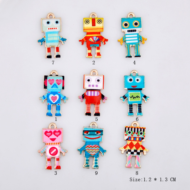 10pcs 14*22mm Korea DIY jewelry enamel robot charms printing patterned alloy alien Pendant Bracelet accessories fashion material