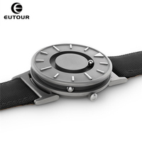 2017 New Style Black Mens Watches Magnetic Ball Fashion Watch Nylon Simple Mimimalist Quartz Watches Creative