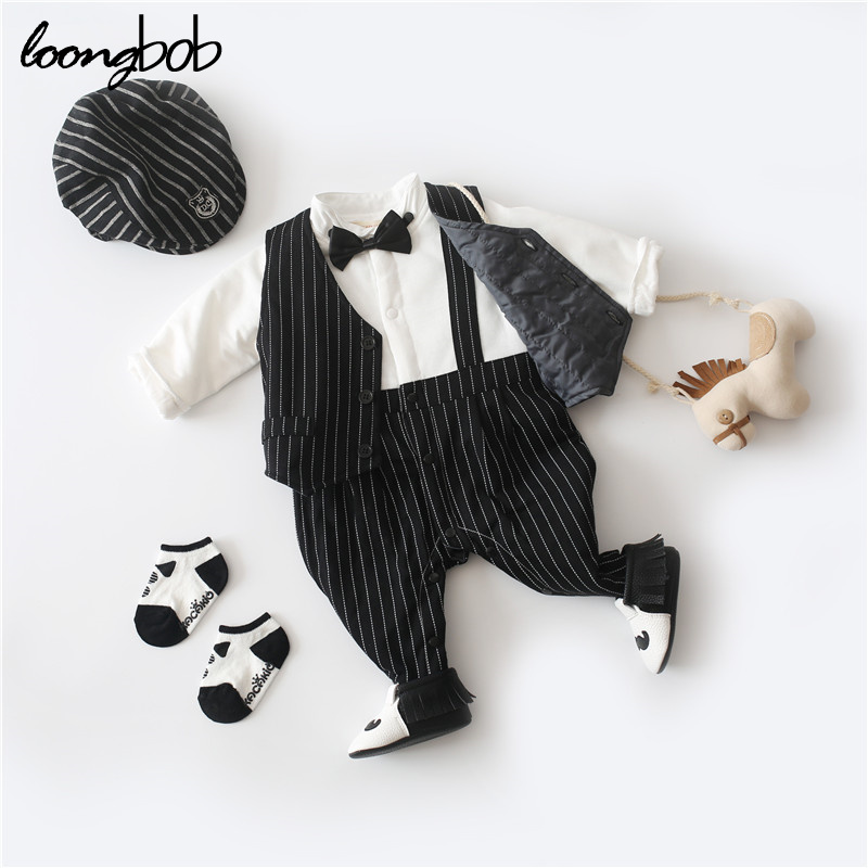 Newborn Winter Thicken Warm Gentleman Romper Baby Boys Toddler Sets Infant Cotton Jumpsuit Striped Formal Clothes Birthday Party puseky 2017 infant romper baby boys girls jumpsuit newborn bebe clothing hooded toddler baby clothes cute panda romper costumes