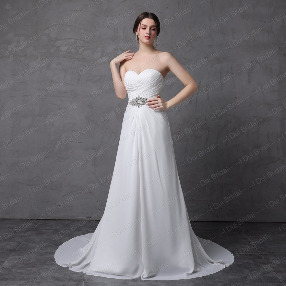 Simple A line Chiffon Wedding Dress with Rhinestone Belt Sweetheart ...