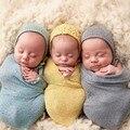 Roupas Bebê recém-nascido Receber Cobertores de algodão Elástico cor Sólida para Meninas Cama Tricô fotografia adereços