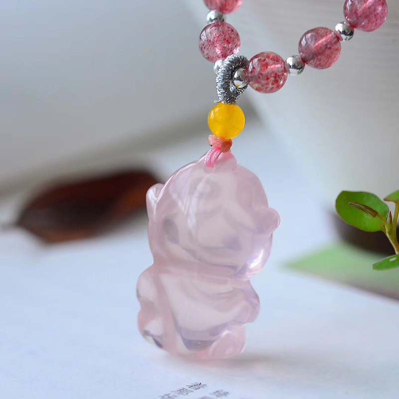 Zodiac JoursNeige Fine Natural Pink Crystal Caved Cute Monkey Pendant Crystal Necklace Lucky for Girl Friend Fashion Jewelry Zodiac JoursNeige Fine Natural Pink Crystal Caved Cute Monkey Pendant Crystal Necklace Lucky for Girl Friend Fashion Jewelry