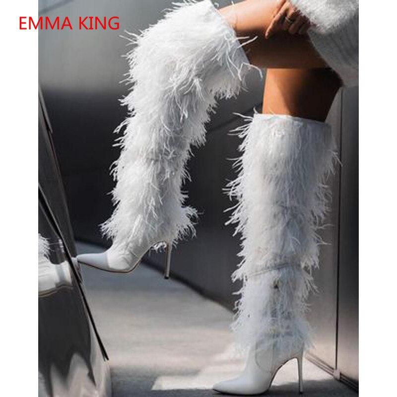 Talons Luxe Le Bottes Sexy Chaussures Femmes As as Plume Pointu Haut Martin De Picture Zipper Piste Hauts Bout Picture Genou Sur tApqgAw