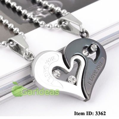 Men Love Gold Black Silver Blue Heart Jigsaw 316L Stainless Steel Pendant Necklace 1 pcs
