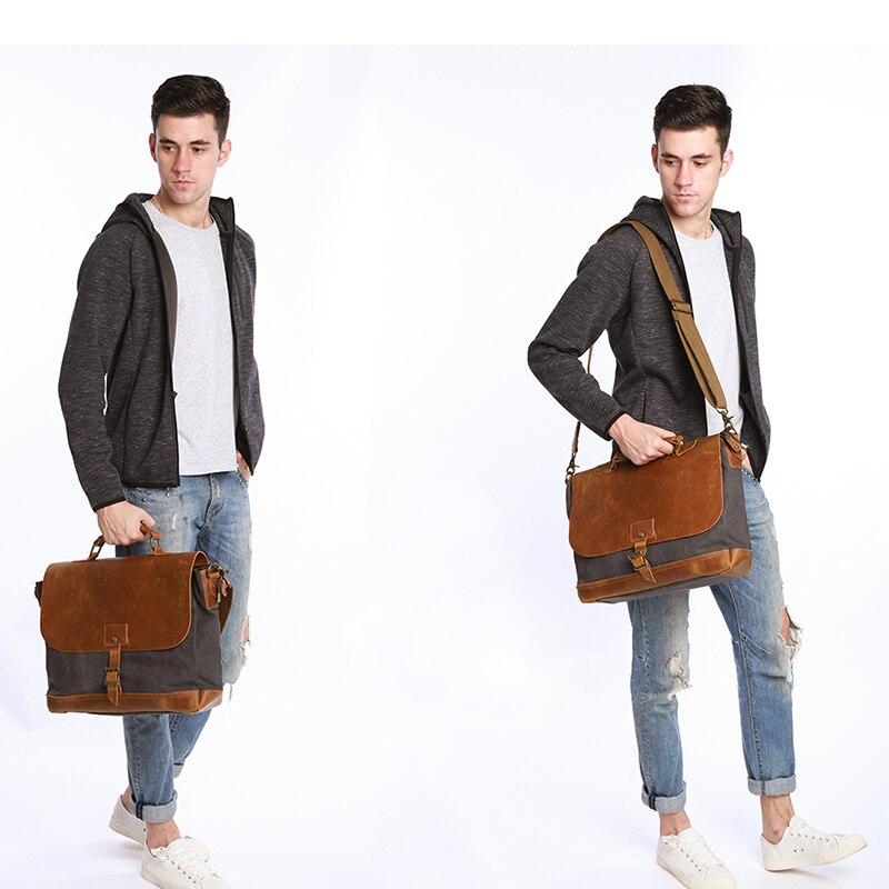 Große Coffee Laptop Masculina khaki Taschen Ecosusi Messenger Leinwand Bolsa gray Umhängetasche Handtasche Leder Vintage Männer C0CwqH1