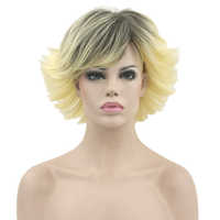 Soowee Blonde Ombre Color Short Curly Wigs Synthetic Hair Heat Resistant Fiber Hairpiece Women Party Hair Cosplay Wig