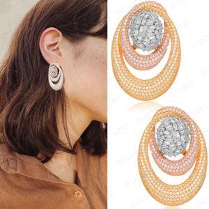 Image 3 - GODKI 43MM Famous Luxury Popular Waterdrop Stud Earring For Women Accessories Full Cubic Zirconia Earrings pendientes mujer moda