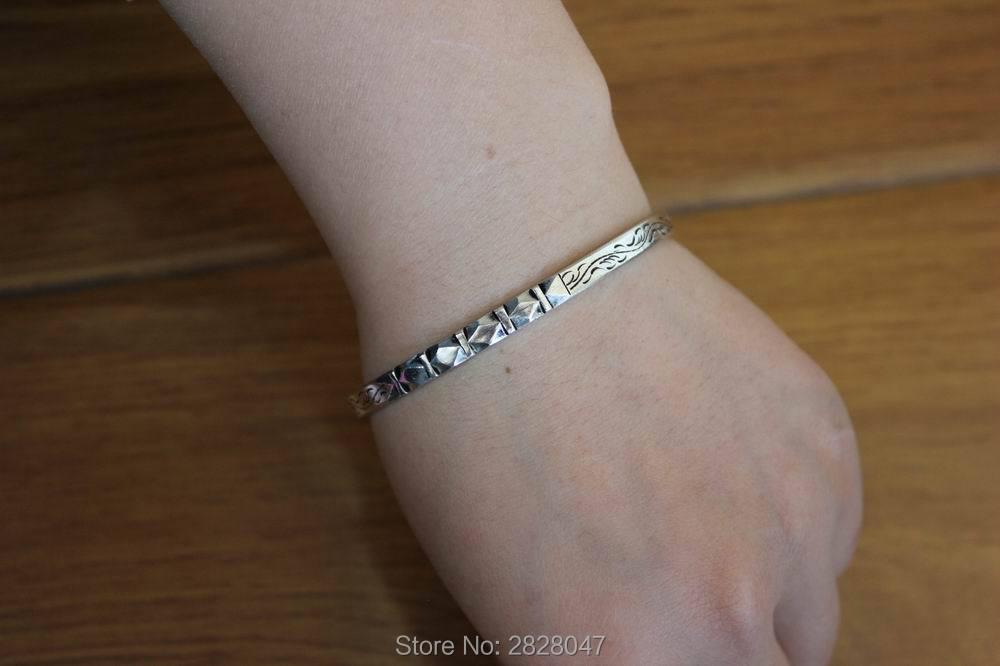 BR021 Simple & Slim Tibetan White Metal Copper 5mm Open Back Cuff Bangle Nepal handmade Women Adjustable Bracelet