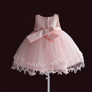 Image 2 - Brand New Baby Girl Dresses Pink White Pearl Bow Party Pageant Dress Little Kids Children Dress for Party Wedding Size 6M 4T