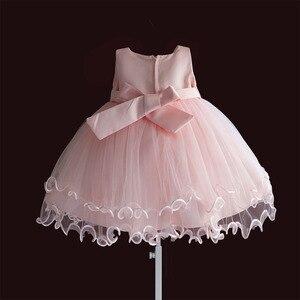Image 2 - Marke Neue Baby Mädchen Kleider Rosa Weiß Perle Bogen Party Pageant Kleid Kleine Kinder Kinder Kleid für Party Hochzeit Größe 6 M 4 T