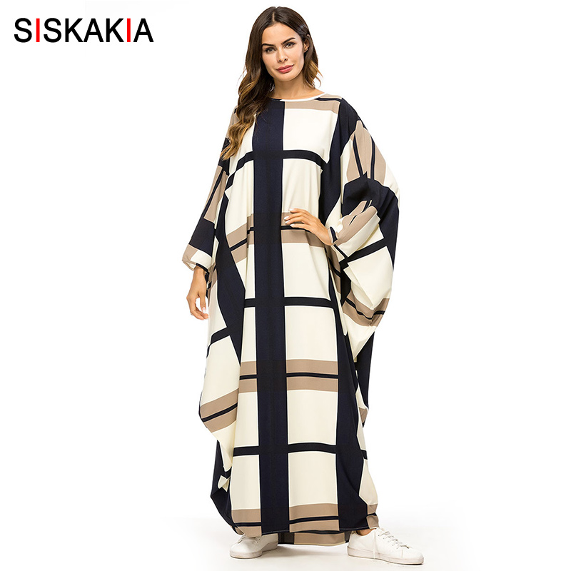Siskakia Bat Shape Dressing Gowns for Women Fashion Plaid Color Block Muslim Robes Oversized Bat Sleeve