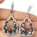 Long London Blue Topaz, White Cz Created SheCrown Woman's Wedding   Silver Earrings 50x22mm