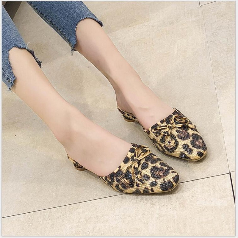 RUSHIMAN Summer Flats Mules Lady Sandals Slippers leopard Slip On Square Toe Women Outdoor baotou Slipper Shoes Woman Slides