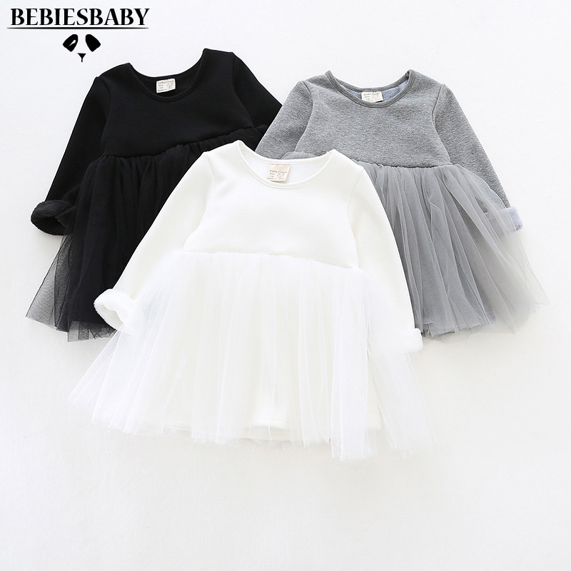 Baby girls dresses for party and wedding 2016 princess dress long Sleeve with Voile keep warm Tutu Dance Dress 9 Months-3Years