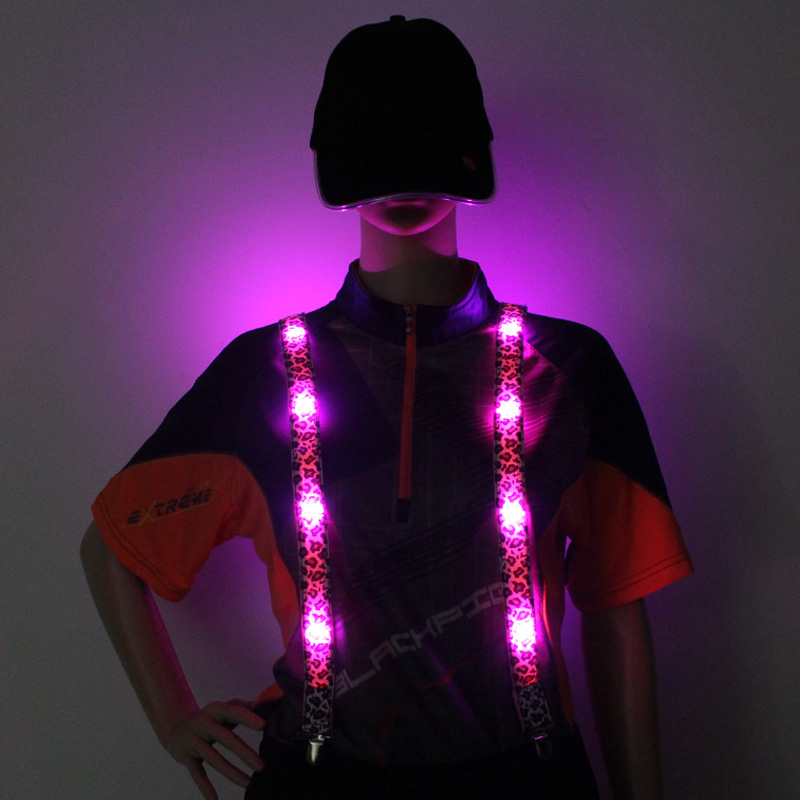 2017 Fashion Light up braces Signal led Flashing Gallus lings With Cr2032 Battery Different Led Colors